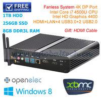 Eglobal Fanless Mini PC Computer HTPC with Intel Core i7 8GB RAM 1600MHz 256GB SSD 1TB HDD 300M WiFi+DP+HDMI+USB3.0+USB2.0