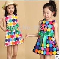 2014 new autumn spring  girls polka dot dress long-sleeve baby kids clothes girls princess dress . Free shipping