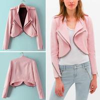 HOT 2014 New Autumn Women Brand Style Double Lapel Collar Epaulet Long Sleeve Zipper Short Motorcycle Jacket Coat Outwear Tops