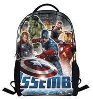New 2014 3D printing Captain America , Iron Man League Children fashion cartoon printing shoulder bag backpack shoulder bag