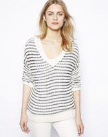 women Sweater Wind-style black and white striped navy V-neck long-sleeved knit V after pullover
