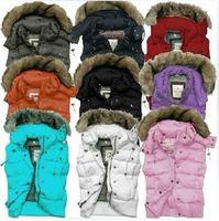 Free Shipping Women Fur Vest Detachable Hooded Down Vest Coat Multi-color Sleeveless Waistcoat Jacket 90% White Duck Down Jacket