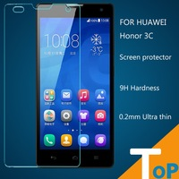 2pcs 9H Hardness HUAWEI Honor 3C Arc edge design Glass Screen toughened Ultra thin Slim Real Tempered free shipping