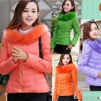 2014 coat winter women new fashion ladies coats spring women jacket casual wadded jacket big fur collar coat women OL girls