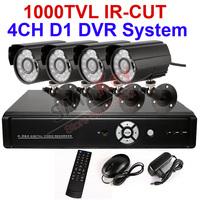 4CH 1000TVL CCTV DVR System 1000TVL IR-cut Outdoor Camera 4ch full D1 1080P H.264 p2p DVR video cable and camera power