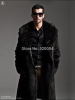 Man long environmental imitation fur coat over thick autumn winter fur coat