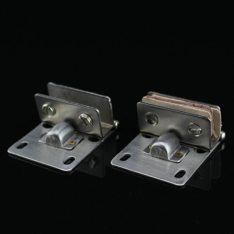 Stainless steel wine cabinet door hinge hinge 90 degree glass cabinet door hinge glass display without holes for 5-8MM glass(China (Mainland))
