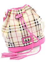 2014 New Plaid Bucket Bag Tassel Women Canvas Handbag Casual Shoulder Bags Messenger Bags FREE SHIPPING