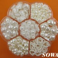Free Shipping 460PCS Mix Heart Style Size  ivory White Color DIY Half Round imitation Pearl Beads Flat Back Scrapbook Craft