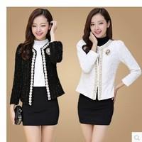 2014 New White/Black Autumn Knitted Blazers for Women Work Wear Vintage Woman Coats Elegant Cardigan Jackets Work Wear S~3XXXL