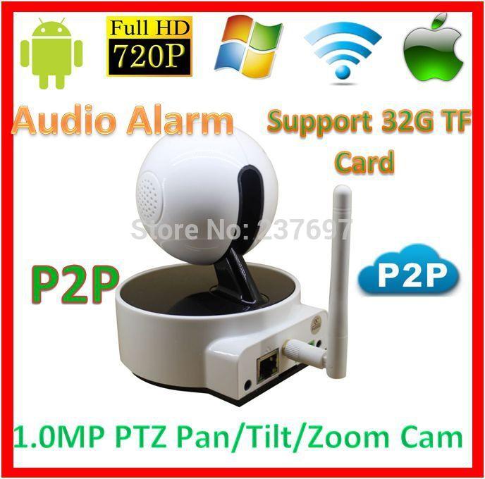 Security 720p wifi p2p PTZ IP Baby Moniter Kamera CCTV SD TF Card Audio Alarm Wireless1.0MegaPixel Network Phone View WebCam(China (Mainland))
