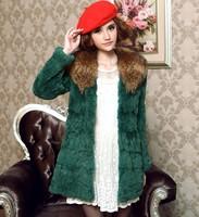 2014 raccoon fur rabbit fur medium-long fur full leather rabbit fur women's outerwear