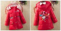 2014 Winter new Korean children's cartoon printed jacket and long sections thicker down jacket free shipping