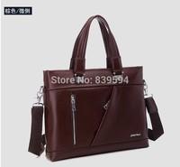 Business Men's casual leather handbag shoulder diagonal cross Mens bag computer bag