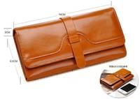 Oil wax leather wallet cowhide upscale women's long paragraph wallet carteira women wallets carteira feminina
