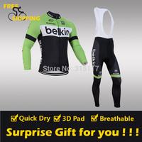 2014 Green BELKIN winter Fleece Thermal Long Sleeve and Bib Pants Cycling Jerseys /Wear/Clothing/Bicycle/Bike/Riding jersey/Gel