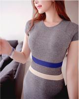 2014 summer dresses striped OL bag hip slim short sleeve dress women's dress O-neck Free Shipping 831