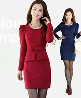 2015 New Fashion Autumn Slim Long-sleeve Dresses Fashion Elegant Slim Hip Female Dress