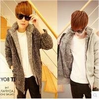 2014 winter new men's cashmere sweater thick zipper Slim Korean men's casual hooded cardigan jacket trend