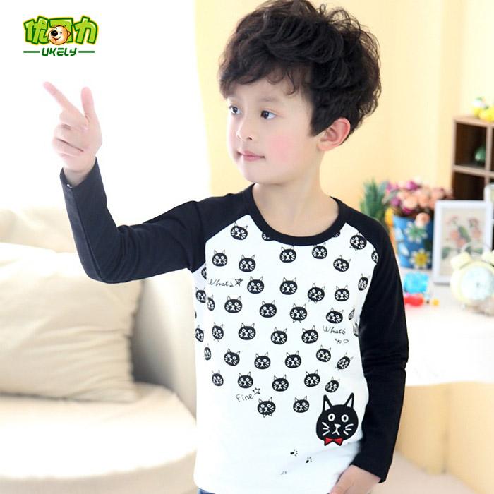 Free Shipping Children's clothing 2015 Spring cat nova kids soft casual long-sleeve T-shirt boys girls 100% cotton basic shirt(China (Mainland))