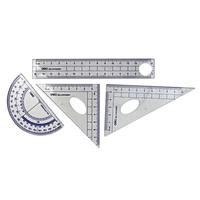 Deli 9597 Student Math Ruler Sets 15cm Straight Ruler  +45 Triangle Ruler +60 Degrees Triangle Ruler + Protractor 4PCS/Sets