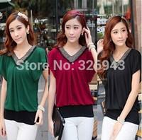 Women's new Slim short-sleeved V-neck chiffon shirt beads short T shirt  free shipping