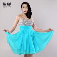 Brand Guoisya Mini Dress Korean Slim Diamond Princess Sexy Chiffon Dress Tank Short Party Dress Toast Elegent Homecoming Dresses
