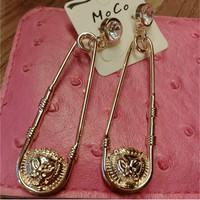 2014 new Brand Vintage earrings punk lion head pin shape brincos Dangle earrings for women Silver Gold long earrings jewelry