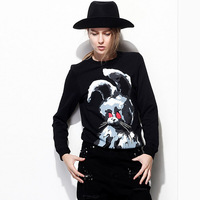 Free shipping!2014 new arrived hot sale Fashion design rabbit print pullover loose women's sweatshirt leisure suit