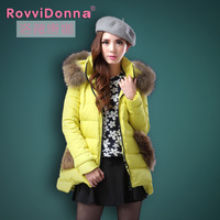New2014 plus size thick cotton-padded jacket female medium-long slim wadded jacket winter women's hood down jacket Free Shipping