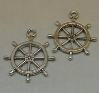 100pcs/lot Antique Silver Rudder Alloy Jewelry Accessories Wholesale Beads Pendants 24x28mm