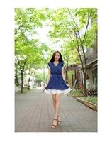 Sweet chiffon short sleeved new fall clothing women's plus size Princess Sen clean dress fashion Royal Blue women dresses