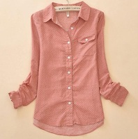 new 2014 Polka Dot Long-sleeve Cotton Shirts For Women Clothing Fashion Blouse top Shirt Vintage Casual Clothes