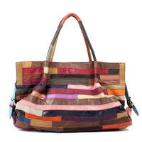 2014 women bag fashion women handbag patchwork bag shoulder bag genuine leather of sheepskin free shipping