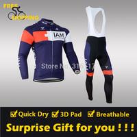 2014 Dark Blue IAM winter Fleece Thermal Long Sleeve and Bib Pants Cycling Jersey /Wear/Clothing/Bicycle/Bike/Riding jersey/Gel