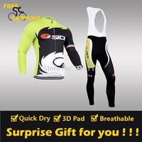 2014 Green Castelli SIDI winter Fleece Thermal Long Sleeve and Bib Pant Cycling Jersey/Wear/Clothing/Bicycle/Bike/Riding/Gel