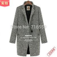 FreeShipping2014 Design New Spring/Winter Trench Coat Women Grey Medium Long Oversize Warm Wool Jacket European Fashion Overcoat
