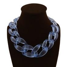 New arrival big plastic Chain Necklace Fashion Sapphire jewelry