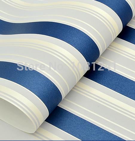 10M Azul e Branco Vertical Stripe Pattern não-tecidos Quarto Household Wallpaper Mediterrâneo etiqueta da Criança papel de parede(China (Mainland))