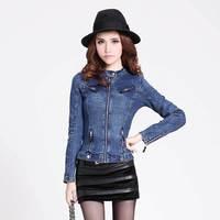 2014 new European style denim jacket zipper women Slim motorcycle jacket