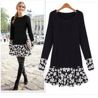 2014 Autumn New Fashion O-Neck Knitting Slim Patchwork  Long-Sleeve  Women Dress in Stock