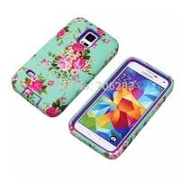 Flower Design Hard Shell Heavy Duty Hybrid Case for Samsung Galaxy S5 G900 I9600 + 50pcs/lot + DHLFreeshipping