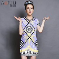 twodsEuropean and American big-name high-end women's summer short-sleeved purple dress printed temperament was thin large size d