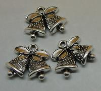 100pcs/lot Antique Silver Christmas bells Alloy Jewelry Accessories Beads Pendants 17x15mm Wholesale