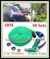 FedEX Free shipping 100 Sets 10M Pipe Car wash water gun copper portable high pressure Vehicle washing gun rinse Spray Hose tap