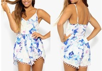 Floral Print Jumpsuit Women Shorts Tassels Overall Camis Loose Sexy Summer Pants White Playsuit macacao feminino vestido Romper