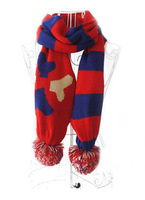New Arrival 2014  Wool scarf Spell color stripe color ball ball centers around to keep warm