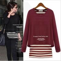 2014 Autumn New Fashion O-Neck Knitting loose  Patchwork Women dress