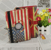 "New for Ipad 4 3 2 Leather Case Tablet PC Accessory Ipad4 Ipad3 Protective Skin Cover 9.7"" Inch USA UK Flag Print Revolve"
