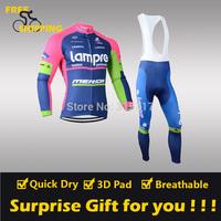 2014 Lampre winter Fleece Thermal Long Sleeve and Bib Pants Cycling Jersey /Wear/Clothing/Bicycle/Bike/Riding jersey/Gel